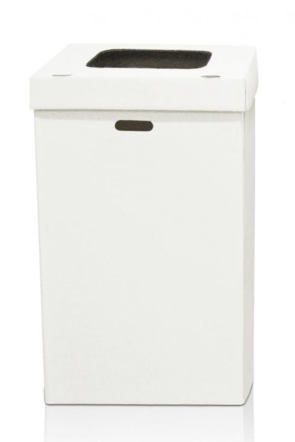 White Disposable Trash Containers with Multi-Function Lids and 55-gallon Liner Bags